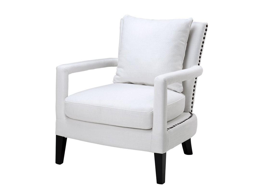 КреслоИнтерьерные кресла<br>Кресло с подлокотниками Chair Gregory на деревянных черных ножках. Кресло обтянуто льняной тканью белого цвета. Съемные подушки. Декор: металлические заклепки.<br><br>Material: Текстиль<br>Width см: 70<br>Depth см: 70<br>Height см: 81
