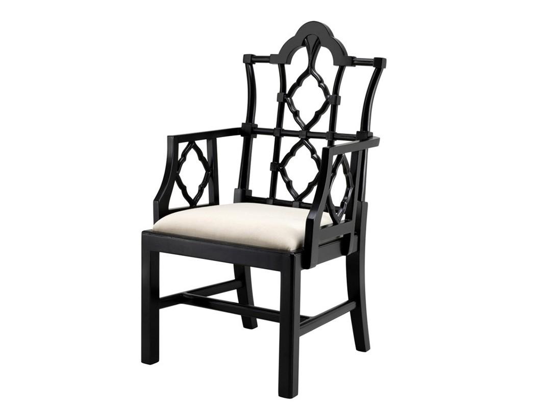 Полукресло RufinoПолукресла<br>Кресло с подлокотниками Chair Rufino на деревянном каркасе черного цвета. Сидушка обтянута тканью белого цвета.<br><br>Material: Дерево<br>Width см: 63<br>Depth см: 59<br>Height см: 116
