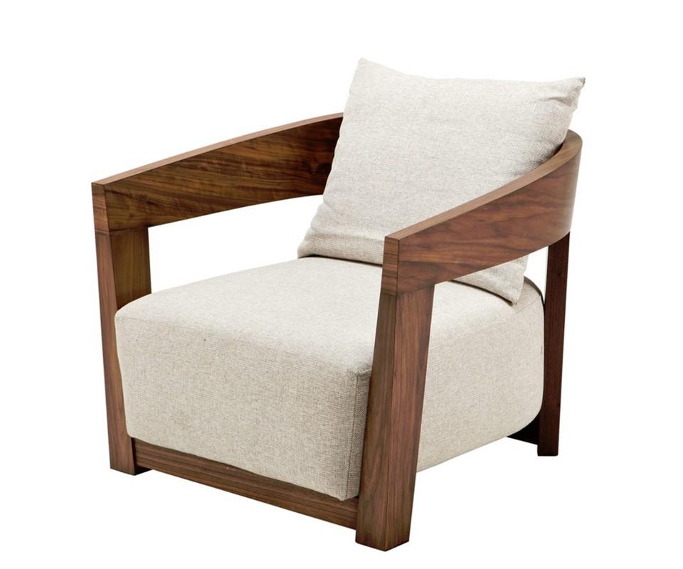 Кресло RubautelliИнтерьерные кресла<br>Кресло с подлокотниками Chair Rubautelli на деревянном каркасе коричневого цвета. Кресло обтянуто тканью песочного цвета. Съемная подушка на спинке.<br><br>Material: Текстиль<br>Width см: 74<br>Depth см: 76<br>Height см: 76