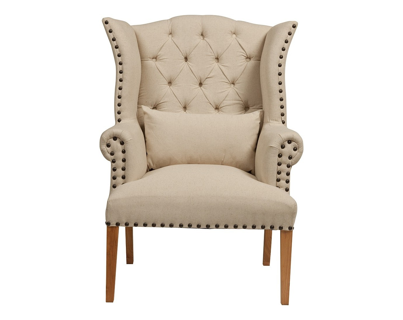 Кресло Quinn Tufted ArmchairКресла с высокой спинкой<br>Интересный, органично выполненный дизайн кресла Quinn Tufted Armchair стал настоящей изюминкой. Выполненное в прованском стиле, оно тянет опуститься в него, отдохнуть от обыденности, суеты и маеты. Кресло Quinn Tufted Armchair — это настоящий уголок мира и покоя. Сочетание дубового каркаса и льняной обивки типично для деревенского стиля. Светлые тона, мягкие округлые формы, простеганая стежкой «капитоне» с декоративными пуговицами спинка — все направлено на то, чтобы прочувствовать комфорт, мягкость и уют. Это кресло так и хочется поставить в комнату, уставленную цветами. Если и есть на свете островки безмятежности и тишины, умиротворения и идиллии — то только там, где есть шанс поставить это кресло и сесть в него.<br><br>Material: Лен<br>Width см: 76<br>Depth см: 78<br>Height см: 114