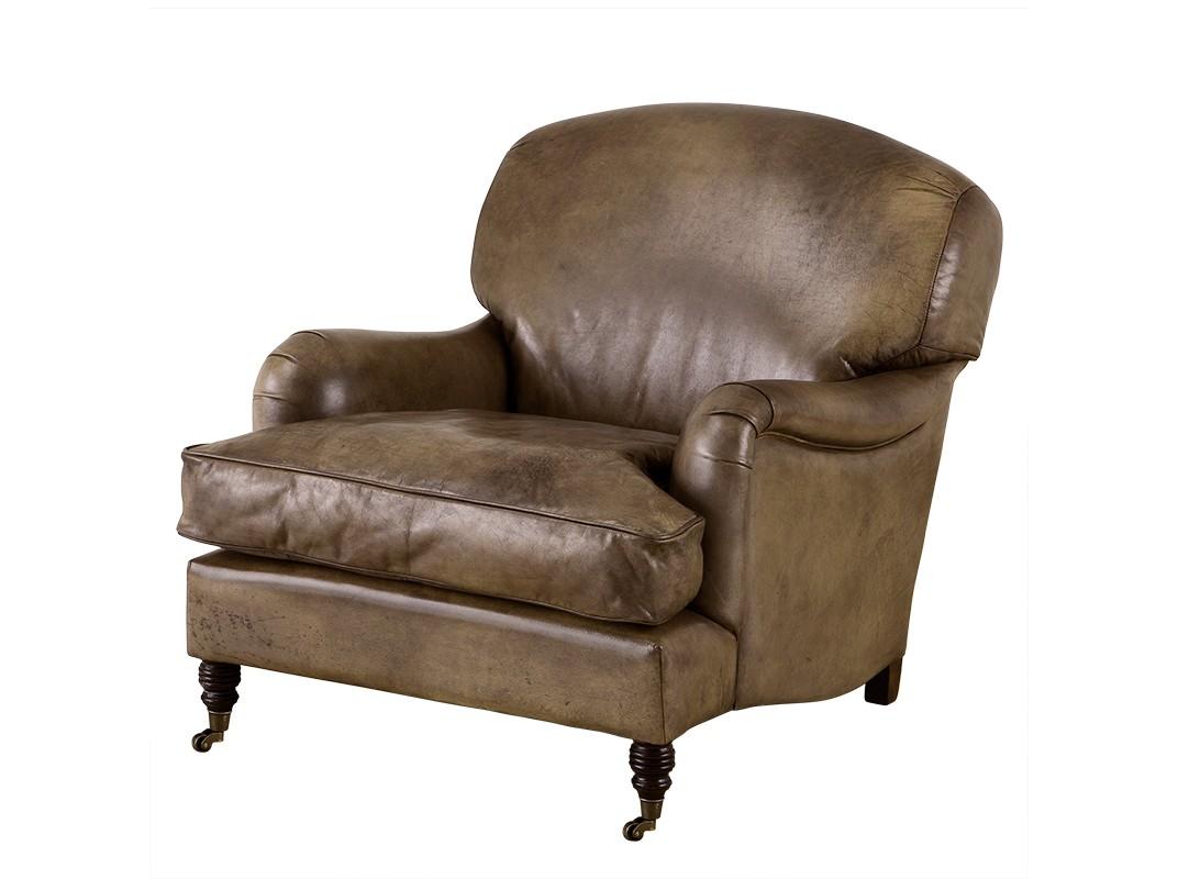 КреслоКожаные кресла<br>Кресло Highbury Estate с подлокотниками. Обтянуто кожей оливкового цвета. Деревянные коричневые ножки на колесиках. На седушке съемная подушка.<br><br>Material: Кожа<br>Ширина см: 84<br>Высота см: 86<br>Глубина см: 100