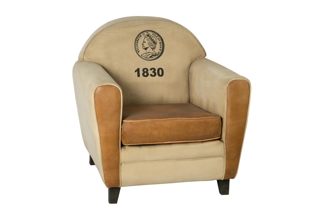 КреслоИнтерьерные кресла<br>Это кресло станет прекрасным дополнением как коллекции нумизматов, так и ценителей оригинальной винтажной мебели. Первых оно заворожит интересным принтом, на котором изображена монета острова Мэн с портретом Елизаветы II. Вторых покорит классический дизайн, выраженный в плавности линий и элегантности традиционного силуэта. Обе категории людей не оставит равнодушным великолепное исполнение с использованием лучших материалов: натуральной бежевой кожи двух оттенков и темной древесины.&amp;lt;div&amp;gt;&amp;lt;br&amp;gt;&amp;lt;/div&amp;gt;&amp;lt;div&amp;gt;Материал: кожа, дерево, ткань.&amp;lt;/div&amp;gt;<br><br>Material: Кожа<br>Length см: 86<br>Width см: 84<br>Depth см: None<br>Height см: 98<br>Diameter см: None