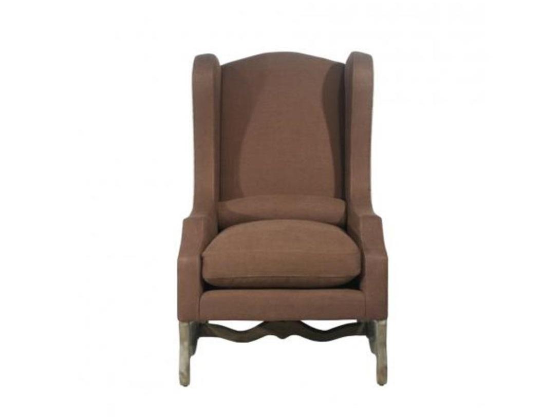 кресло La MancheИнтерьерные кресла<br>Обивка кресла: спереди - коричневый лен, сзади бежевая рогожка. Ножки из ясеня<br><br>Material: Лен<br>Ширина см: 74<br>Высота см: 119<br>Глубина см: 86