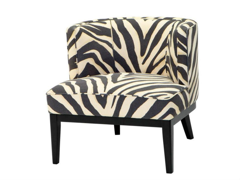 КреслоПолукресла<br>Кресло без подлокотников Chair Baldessari на деревянных черных ножках. Кресло обтянуто тканью c рисунком под &amp;quot;зебру&amp;quot; черно-белого цвета.<br><br>Material: Текстиль<br>Width см: 78<br>Depth см: 74<br>Height см: 77