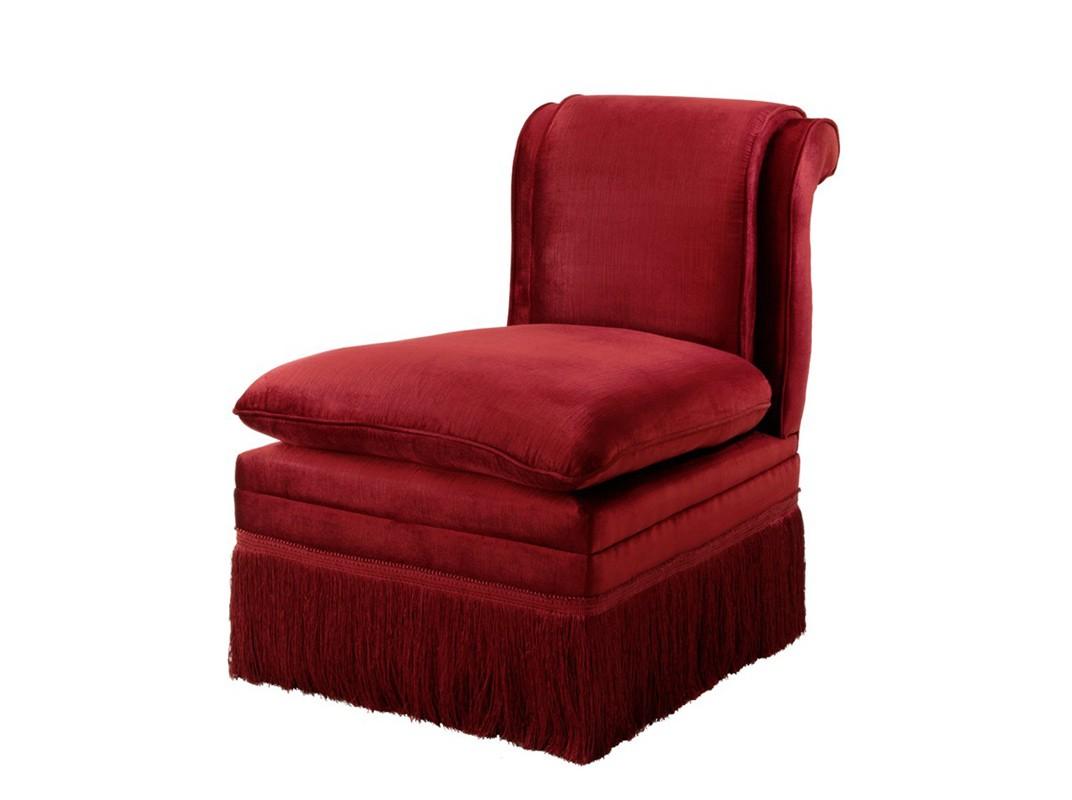 КреслоПолукресла<br>Кресло Chair Boucheron обтянуто тканью красного цвета. Съемная подушка в виде седушки. Декоративная бахрома на нижней части кресла.<br><br>Material: Текстиль<br>Ширина см: 54<br>Высота см: 74<br>Глубина см: 76