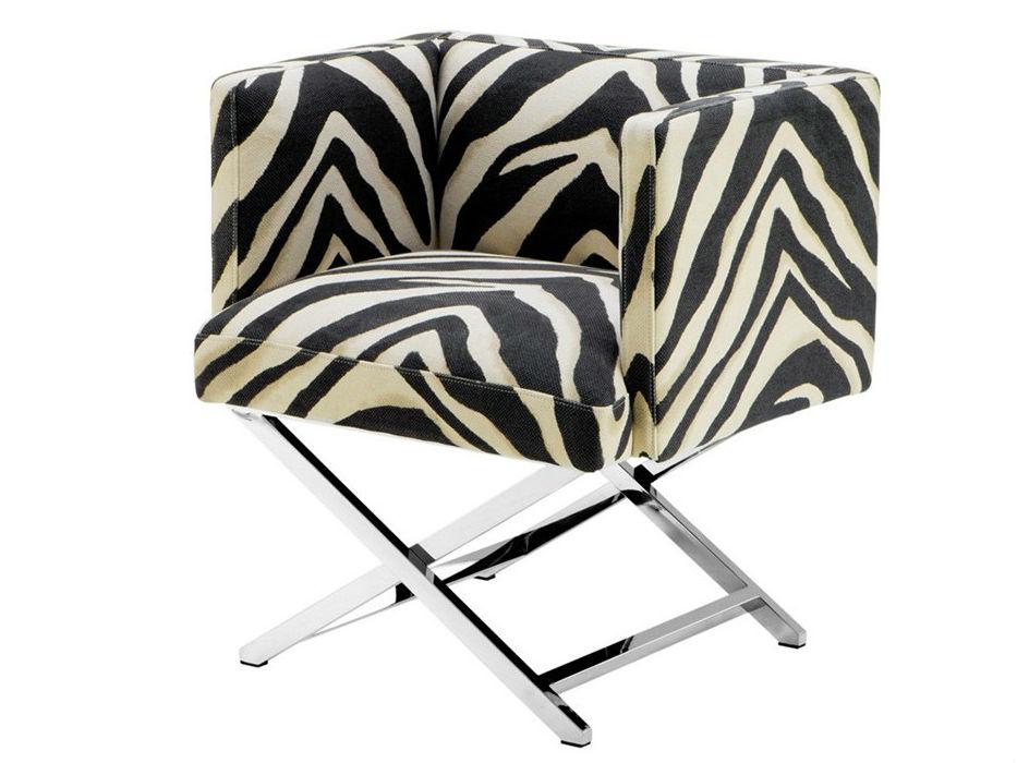 КреслоИнтерьерные кресла<br>Кресло с подлокотниками Chair Dawson на ножках из полированной нержавеющей стали. Кресло обтянуто тканью с рисунком &amp;quot;зебра&amp;quot; черно-белого цвета.<br><br>Material: Текстиль<br>Ширина см: 68.0<br>Высота см: 74.0<br>Глубина см: 57.0