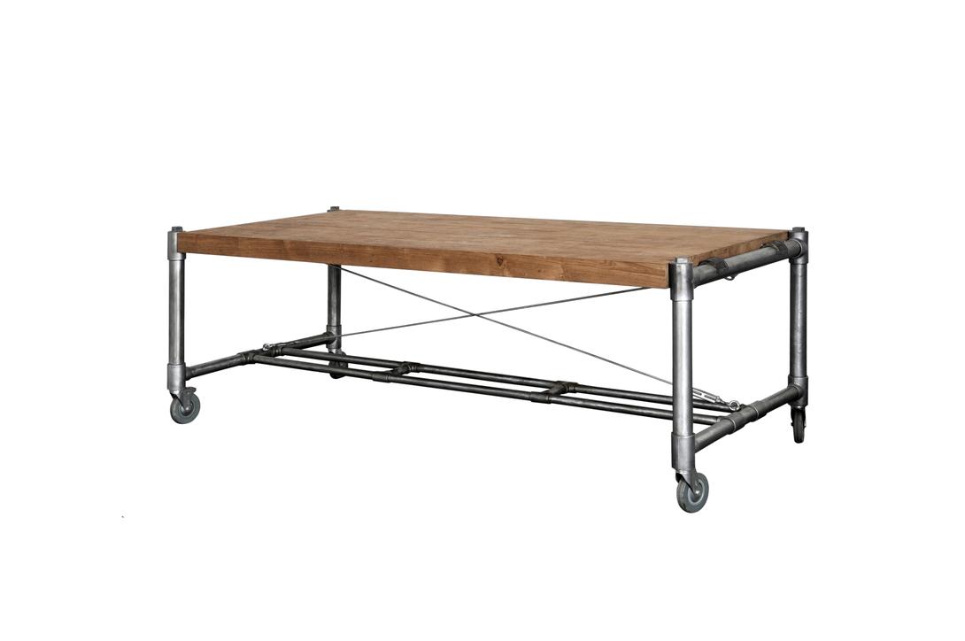 Стол обеденный Kasting 175Обеденные столы<br>Прямоугольный обеденный стол на колесах, массивная рустикальная столешница, ноги из металлических труб. Колеса снабжены стопором.<br><br>Material: Тик<br>Length см: 175<br>Width см: None<br>Depth см: 100<br>Height см: 78<br>Diameter см: None