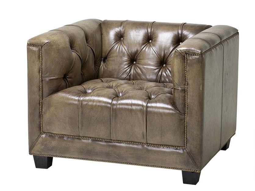 КреслоКожаные кресла<br>Кожаное кресло Davidoff с подлокотниками оливкового цвета. Деревянные черные ножки. Модель выполнена в технике &amp;quot;Капитоне&amp;quot;. Декорировано металлическими заклепками. Состав: 90% полиэстер, 10% лён.<br><br>Material: Кожа<br>Width см: 94<br>Depth см: 85<br>Height см: 73