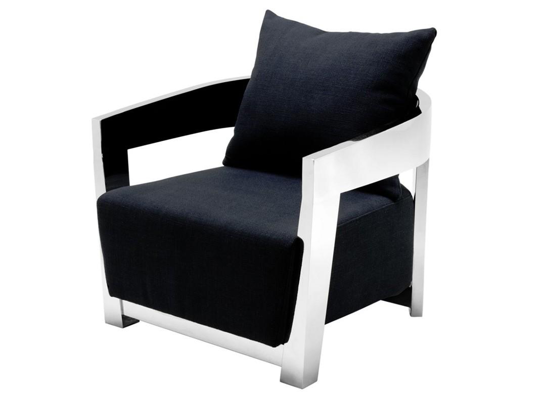 КреслоИнтерьерные кресла<br>Кресло с подлокотниками Chair Rubautelli на ножках из нержавеющей стали. Кресло обтянуто тканью черного цвета. Съемная подушка на спинке.<br><br>Material: Текстиль<br>Width см: 74<br>Depth см: 76<br>Height см: 76