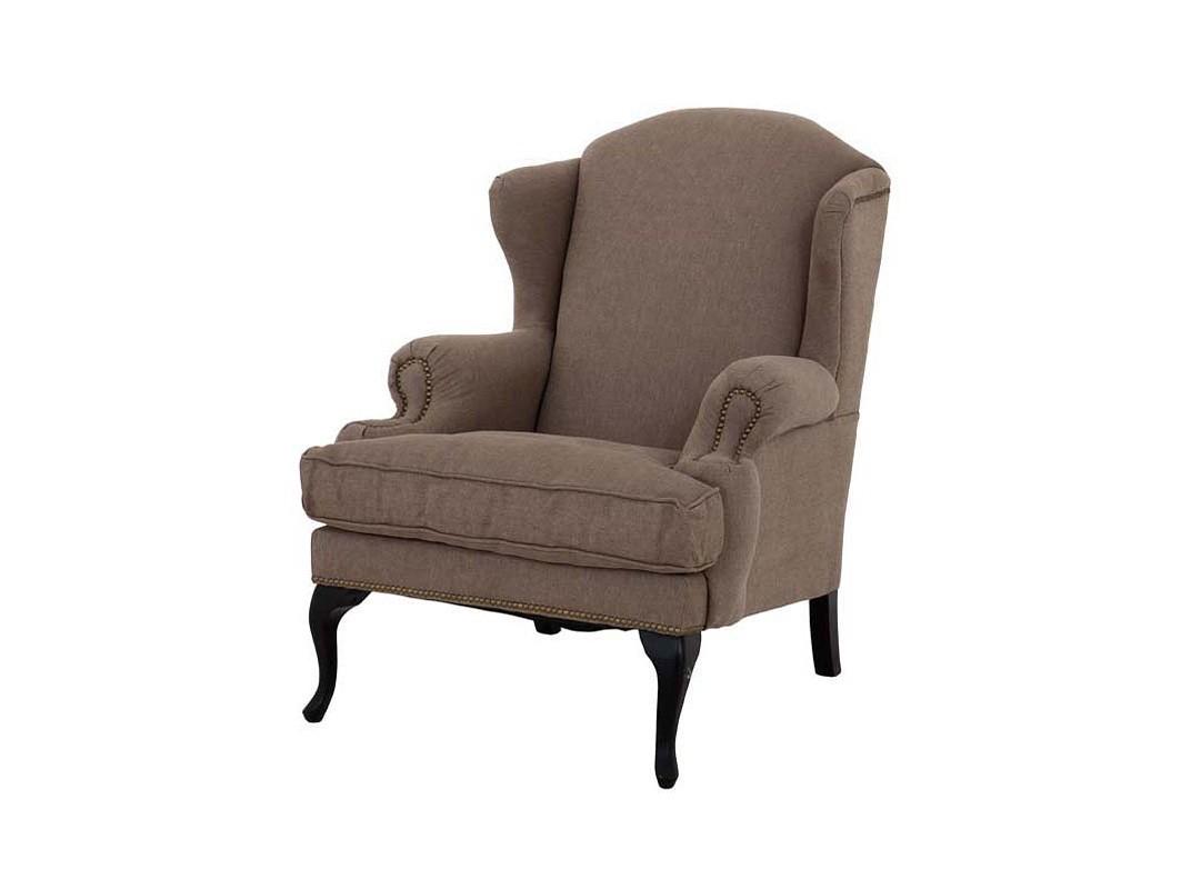 КреслоКресла с высокой спинкой<br>Кресло Frank Sinatra с подлокотниками. Обтянуто тканью песочного цвета. Деревянные черные ножки. На седушке съемная подушка. Декорировано металлическими заклепками. Состав: 100% лён.<br><br>Material: Лен<br>Width см: 82<br>Depth см: 100<br>Height см: 105