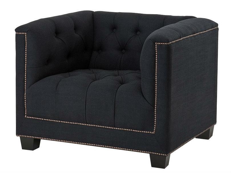 КреслоИнтерьерные кресла<br>Кресло Davidoff с подлокотниками. Обтянуто тканью черного цвета. Деревянные черные ножки. Модель выполнена в технике &amp;quot;Капитоне&amp;quot;. Декорировано металлическими заклепками. Состав: 90% полиэстер, 10% лён.<br><br>Material: Текстиль<br>Width см: 94<br>Depth см: 85<br>Height см: 73