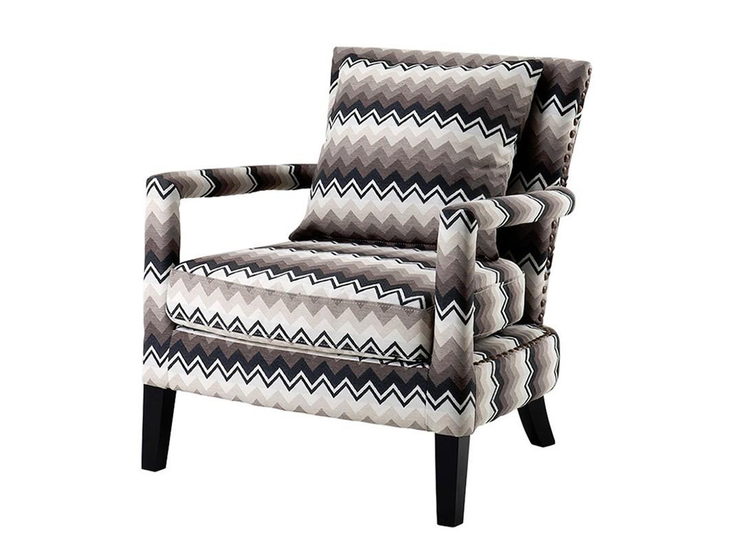 КреслоИнтерьерные кресла<br>Кресло с подлокотниками Chair Gregory на деревянных черных ножках. Кресло обтянуто тканью с оригинальным рисунком. Съемные подушки. Декор: металлические заклепки.<br><br>Material: Текстиль<br>Width см: 70<br>Depth см: 70<br>Height см: 81
