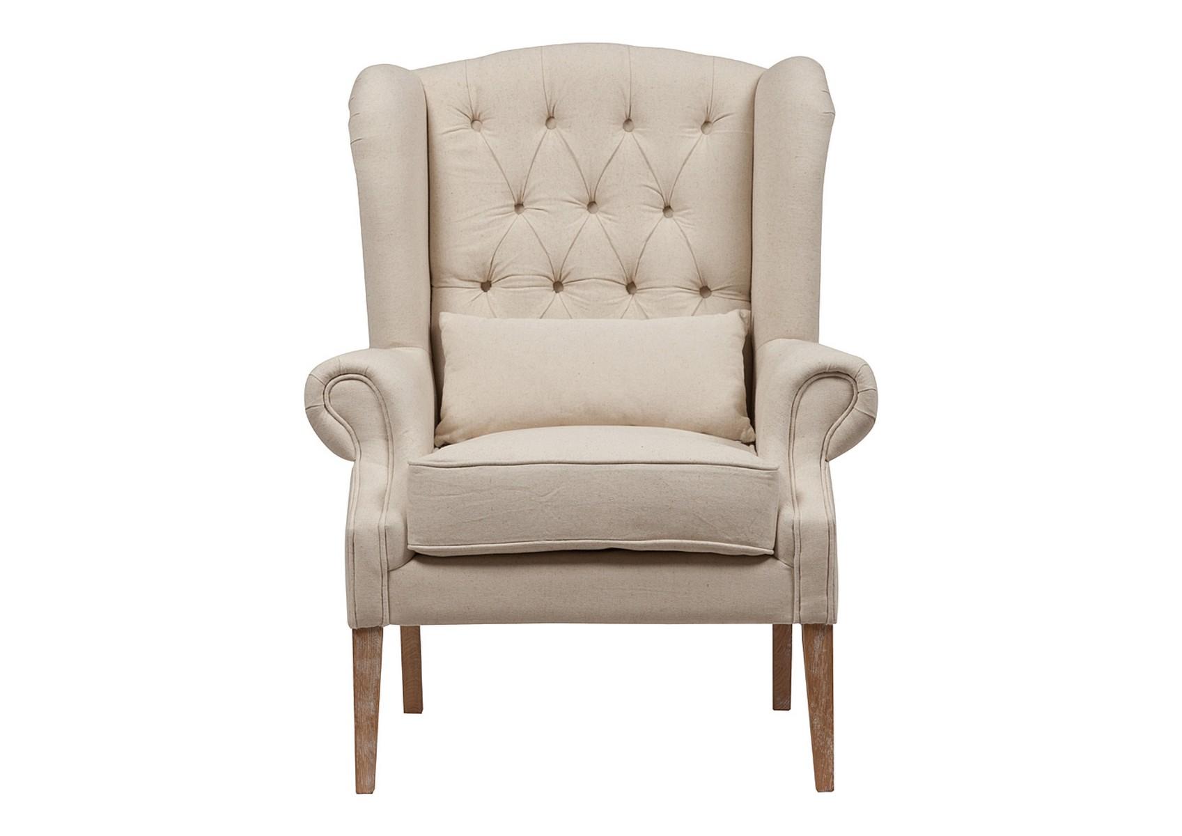 Кресло Wing Back ArmchairКресла с высокой спинкой<br>Материал каркаса: дуб<br><br>Material: Лен<br>Width см: 97<br>Depth см: 94<br>Height см: 114