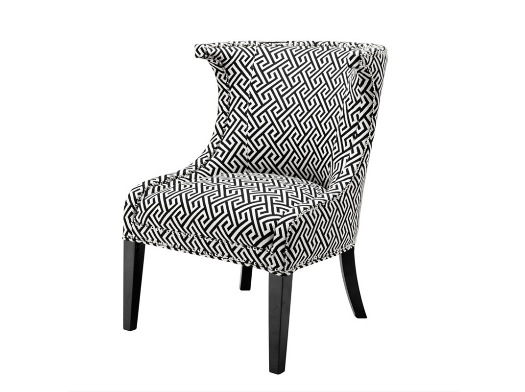КреслоПолукресла<br>Кресло без подлокотников Chair Elson на деревянных черных ножках. Кресло обтянуто тканью черно-белого цвета.<br><br>Material: Текстиль<br>Width см: 66<br>Depth см: 60<br>Height см: 91