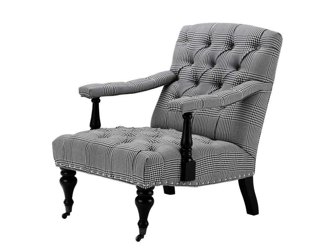 КреслоИнтерьерные кресла<br>Кресло с подлокотниками Chair Carson на деревянных черных ножках с колесиками. Кресло обтянуто тканью черно-белого цвета. Модель выполнена в технике &amp;quot;Капитоне&amp;quot;.<br><br>Material: Текстиль<br>Width см: 70<br>Depth см: 93,5<br>Height см: 89