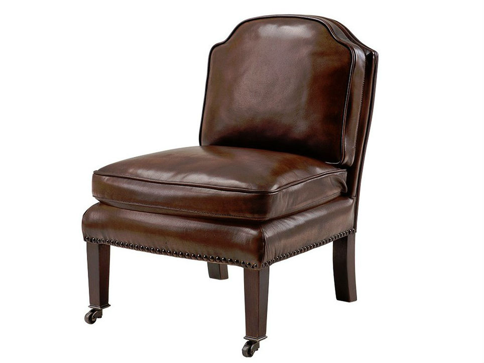 КреслоКожаные кресла<br>Кресло без подлокотников Chair Park Lane на деревянных коричневых ножках с колесиками. Кресло обтянуто кожей коричневого цвета.<br><br>Material: Кожа<br>Width см: 48<br>Depth см: 54<br>Height см: 66