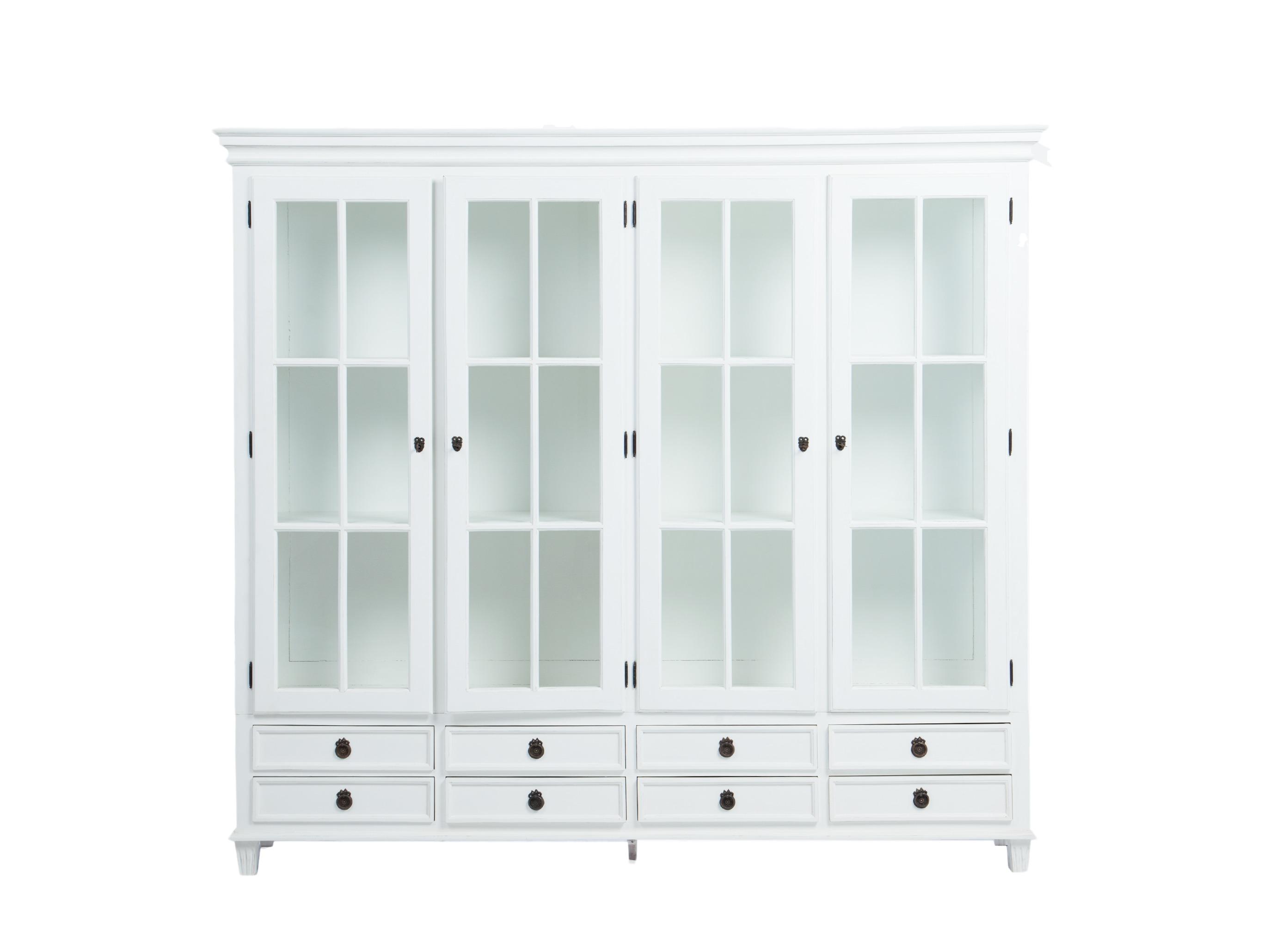 БиблиотекаКнижные шкафы и библиотеки<br>Библиотека (витрина) в густавианском стиле с выдвижными ящиками. Дверцы со стеклом, стекло по бокам.<br><br>Material: Красное дерево<br>Width см: 229<br>Depth см: 45<br>Height см: 205