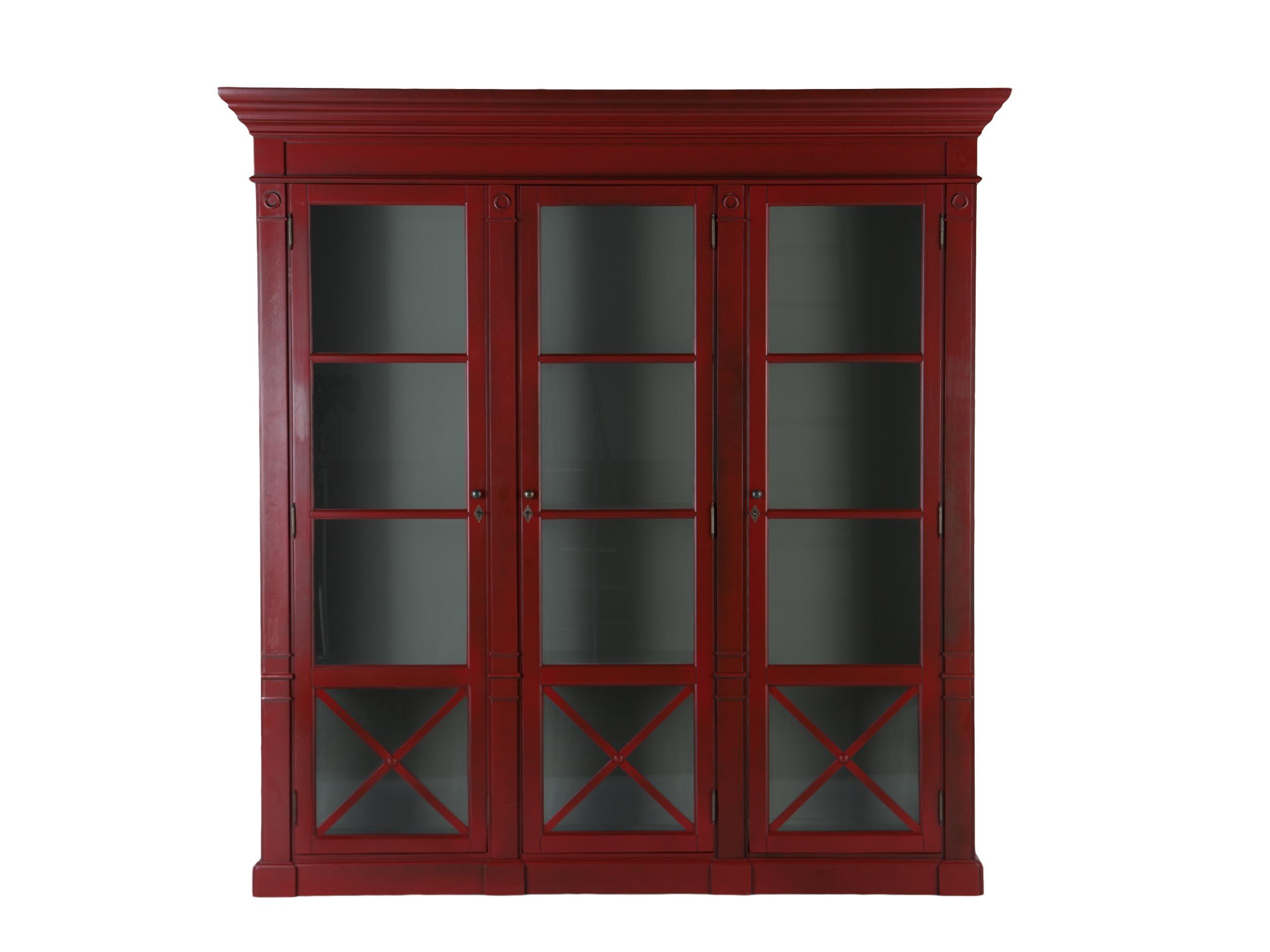 БиблиотекаКнижные шкафы и библиотеки<br>Библиотека с тремя дверцами. Дверцы со стеклом. Глубокий красный цвет снаружи дополняет серый внутри.<br><br>Material: Дерево<br>Width см: 222<br>Depth см: 48<br>Height см: 230