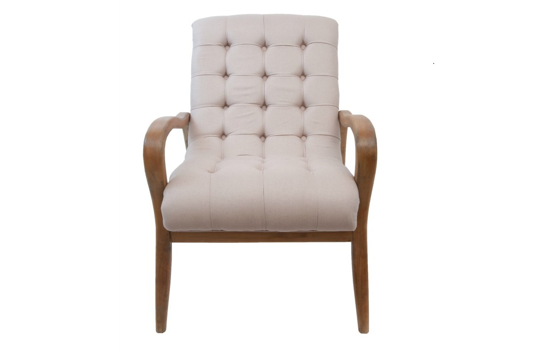 Кресло ElisioИнтерьерные кресла<br>Изящные линии бежевого кресла Elisio замечательно впишутся в современный интерьер. Благодаря наклону задней стенки кресло имеет замечательную эргономику.<br><br>Material: Лен<br>Width см: 68<br>Depth см: 89<br>Height см: 95