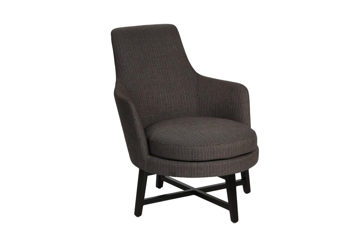 КреслоИнтерьерные кресла<br>Простое компактное кресло идеально для современного интерьера. Модель от M-Style воплощает собой функциональность и практичность. Высокая спинка «сливается» с подлокотниками и образует монолитный силуэт. Круглое сиденье придает ему завершенность. А в качестве скромного декора использованы скрещенные балки между ножками кресла.&amp;amp;nbsp;<br><br>Material: Текстиль<br>Length см: None<br>Width см: 66<br>Depth см: 80<br>Height см: 82