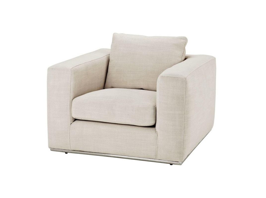 КреслоИнтерьерные кресла<br>Кресло с подлокотниками Chair Atlanta на ножках из нержавеющей стали. Кресло обтянуто тканью молочного цвета.<br><br>Material: Текстиль<br>Width см: 92<br>Depth см: 95<br>Height см: 75
