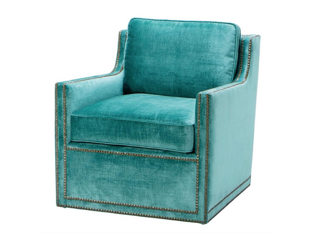 КреслоИнтерьерные кресла<br>Кресло с подлокотниками Chair Granery обтянуто тканью цвета морской волны. Декор: металлические заклепки.<br><br>Material: Текстиль<br>Width см: 74<br>Depth см: 85<br>Height см: 77