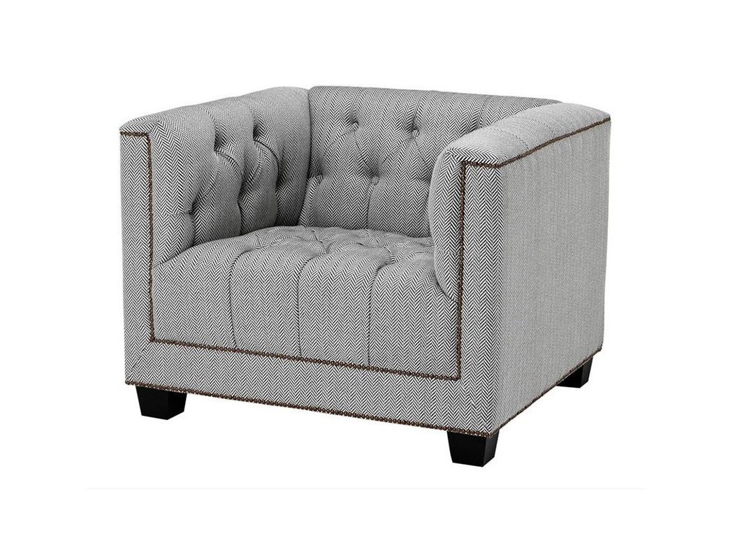 КреслоИнтерьерные кресла<br>Кресло с подлокотниками Chair Paolo обтянуто тканью серого цвета. Декор: металлические заклепки. Модель выполнена в технике &amp;quot;Капитоне&amp;quot;.<br><br>Material: Текстиль<br>Ширина см: 94<br>Высота см: 73<br>Глубина см: 85