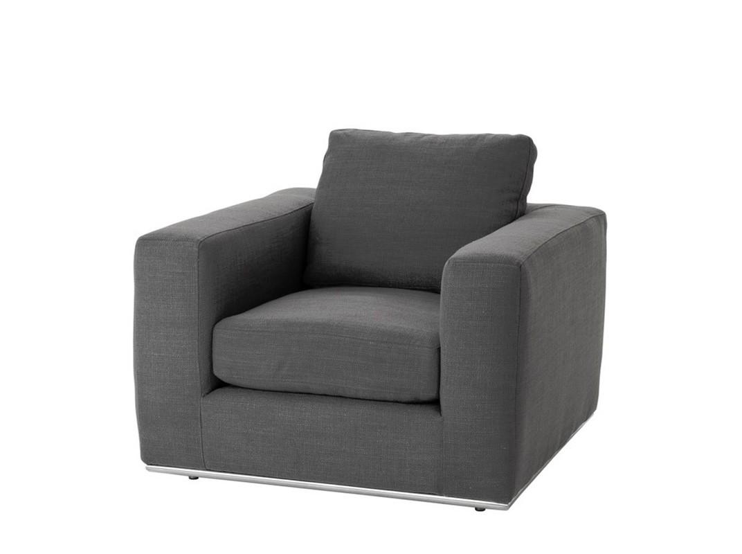 КреслоИнтерьерные кресла<br>Кресло с подлокотниками Chair Atlanta на ножках из нержавеющей стали. Кресло обтянуто тканью серого цвета.<br><br>Material: Текстиль<br>Width см: 92<br>Depth см: 95<br>Height см: 75