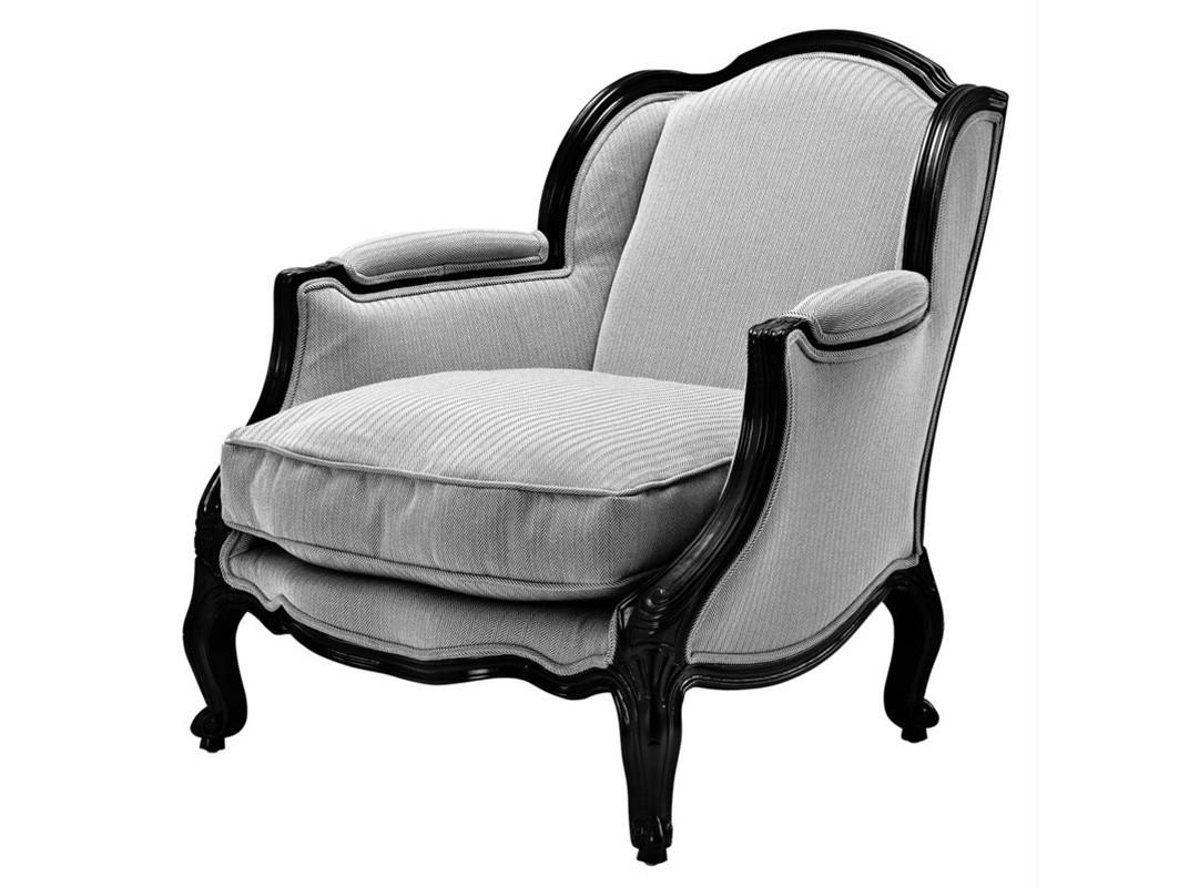 КреслоИнтерьерные кресла<br>Кресло с подлокотниками Chair Hillary на деревянном каркасе черного цвета. Кресло обтянуто тканью черно-белого цвета<br><br>Material: Текстиль<br>Width см: 76<br>Depth см: 80<br>Height см: 85