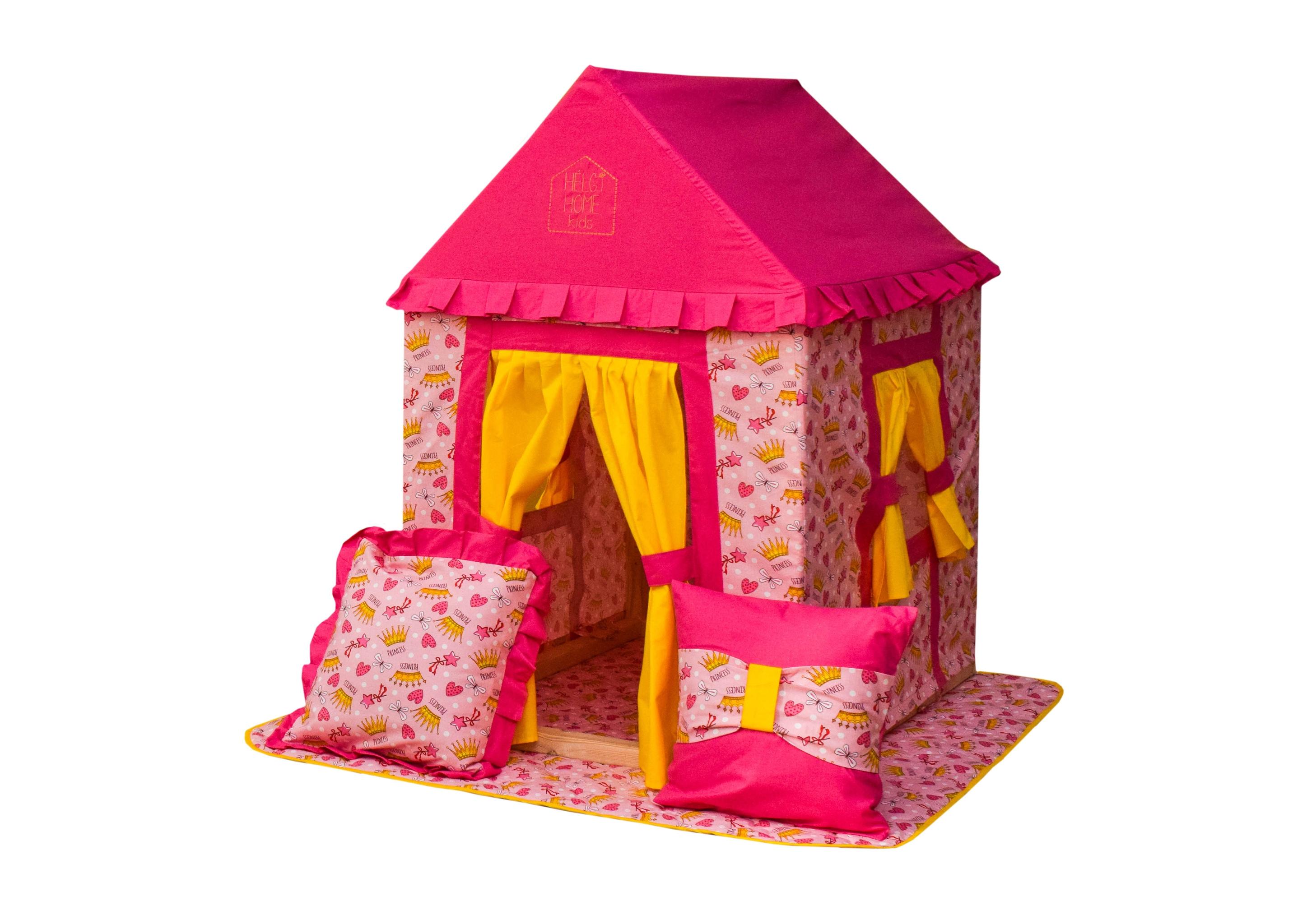 Игровой домик Маленькая принцессаДетские домики<br>Окружить маленькую принцессу роскошью, доступной только для ее детского понимания вам поможет домик от Helgi Home. Для нее он станет настоящим замком, где будущая королева сможет уединиться от бесконечного внимания своих обожателей. Экологически чистые и дышащие материалы, из которых &amp;quot;построена&amp;quot; обитель, позволят сколько угодно времени проводить капризной леди в наиболее комфортной обстановке.&amp;lt;div&amp;gt;&amp;lt;br&amp;gt;&amp;lt;/div&amp;gt;&amp;lt;div&amp;gt;В комплекте идут две красивые подушки с рюшами и стеганый плед.&amp;lt;/div&amp;gt;<br><br>Material: Хлопок<br>Length см: None<br>Width см: 74<br>Depth см: 100<br>Height см: 120<br>Diameter см: None