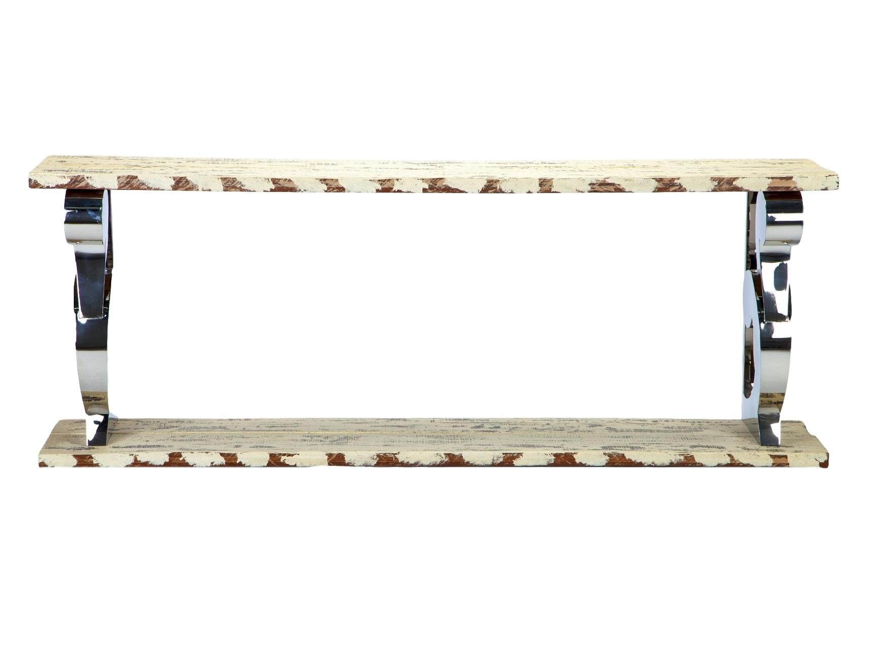 КонсольИнтерьерные консоли<br>Консоль на декоративных ножках из стали. Столешница и нижнее основание из дерева окрашены в белый цвет с элементами старения.<br><br>Material: Сталь<br>Width см: 200<br>Depth см: 45<br>Height см: 75