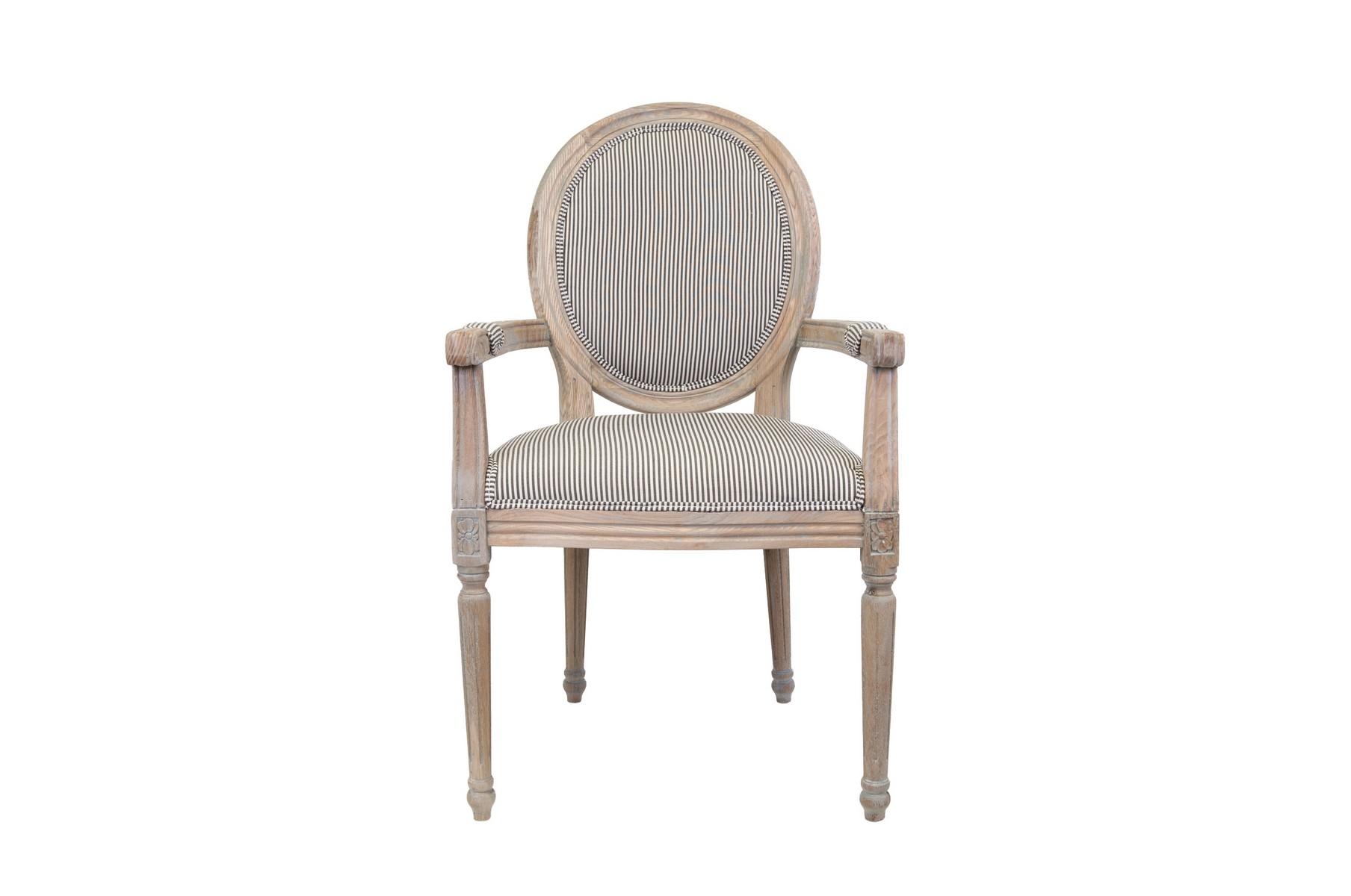 Кресло Diella pinstripeСтулья с подлокотниками<br>Элегантное кресло Diella классического дизайна, его изящные подлокотники выполнены с применением резной работы по дереву. Модель с овальной спинкой в деревянной раме, украшенной резным элементом. Элегантное кресло с лаконичным размером отлично впишется в интерьер столовой, гостиной или кабинета.&amp;amp;nbsp;&amp;lt;div&amp;gt;&amp;lt;br&amp;gt;&amp;lt;/div&amp;gt;&amp;lt;div&amp;gt;Материалы: лен, массив дуба&amp;lt;/div&amp;gt;<br><br>Material: Лен<br>Width см: 57<br>Depth см: 57<br>Height см: 99