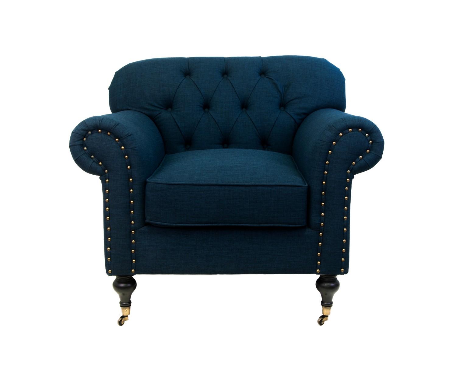 Кресло Kavita dark blueИнтерьерные кресла<br>Мягкие, плавные формы - это кресло не оставит равнодушным никого! Кресло Kavita - вполне самодостаточная модель, не требующая дополнений. Оно достойно украсит гостиную,отлично приживется в спальне. Облегчить передвижение этого очаровательного кресла помогут маленькие колесики, придающие особый шарм.<br><br>Material: Лен<br>Width см: 96<br>Depth см: 90<br>Height см: 88