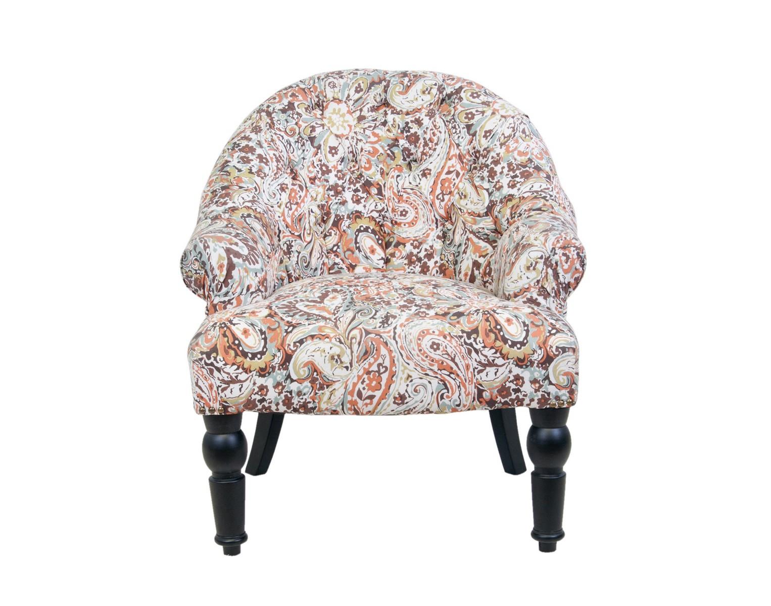 Кресло Desta orange flowerПолукресла<br>Это классическое кресло придаст вашему дому уютную и теплую атмосферу. Невысокая спинка с декоративной стежкой и компактные подлокотники располагают к комфортному времяпровождению. Деревянные резные ножки кресла Desta делают его безупречный образ законченным. Кресло отлично подойдет как для жилых помещений, так и для кафе и ресторанов.&amp;amp;nbsp;<br><br>Material: Хлопок<br>Width см: 65<br>Depth см: 66<br>Height см: 76