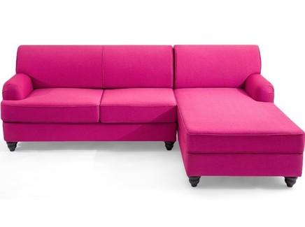 Угловой диван-кровать one (myfurnish) розовый 232x89x165 см.