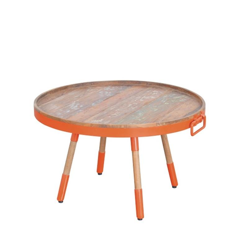 Стол кофейный  Orange 80Кофейные столики<br>&amp;lt;div&amp;gt;Необычная модель от молодого бренда D-bodhi. Компания стала известна благодаря уникальной коллекцией мебели из вторично используемого тика и других материалов. При всей простоте дизайна, этот столик имеет замысловатую фактуру. Отделка металлом с элементами тика придает модели благородную «антикварность». Эклектика, как она есть. Столик отлично впишется в интерьеры в стилях &amp;quot;винтаж&amp;quot; или &amp;quot;лофт&amp;quot;.&amp;lt;/div&amp;gt;&amp;lt;div&amp;gt;&amp;lt;br&amp;gt;&amp;lt;/div&amp;gt;Кофейный стол-поднос, столешница выполнена из кусочков антикварного тика в металлическом обруче, ноги выполнены из тика с металлом.<br><br>Material: Тик<br>Length см: None<br>Width см: None<br>Depth см: None<br>Height см: 35.0<br>Diameter см: 80.0
