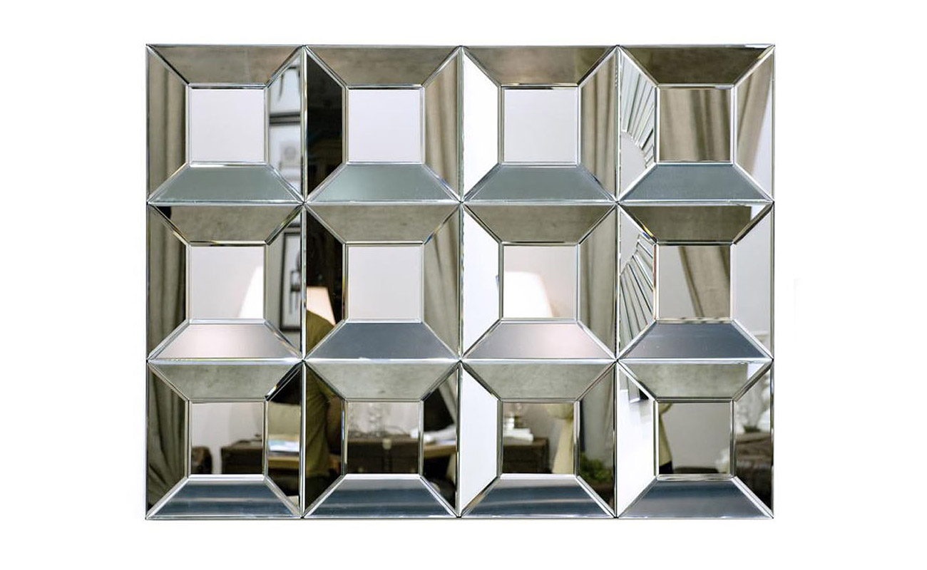 ЗеркалоНастенные зеркала<br>Это креативное зеркало от Garda Decor со свежим, смелым дизайном больше напоминает зеркальную плитку. Геометрическая правильность и повторяемость форм позволяет компоновать друг с другом несколько блоков, создавая композиции любой площади. Множество разнонаправленных зеркальных поверхностей создают затейливую игру света и отражений.&amp;amp;nbsp;<br><br>Material: Стекло<br>Ширина см: 120<br>Высота см: 90.0