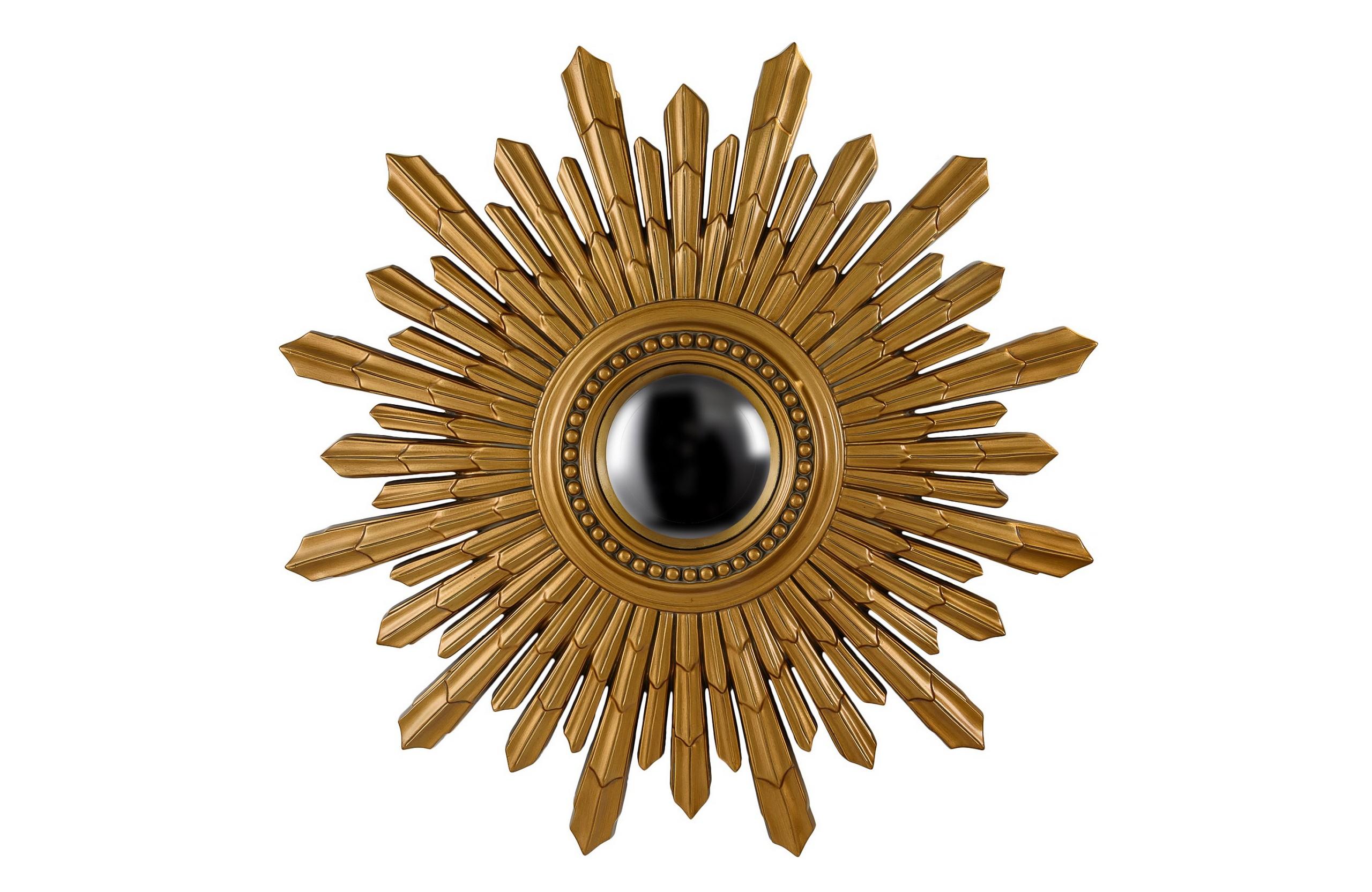 Зеркало New Solar GoldНастенные зеркала<br>Это зеркало в необычный раме в виде солнца несет не только практичную, но, прежде всего, декоративную функцию, ведь такое зеркало станет настоящим украшением интерьера! Зеркало подойдет для интерьера гостиной, прихожей или спальни, оформленной в стиле ар-деко или эклектика.<br><br>Цвет: Античное золото<br>Материал: Полиуретан<br><br>Material: Полиуретан<br>Length см: None<br>Width см: None<br>Depth см: None<br>Height см: None<br>Diameter см: 103.0