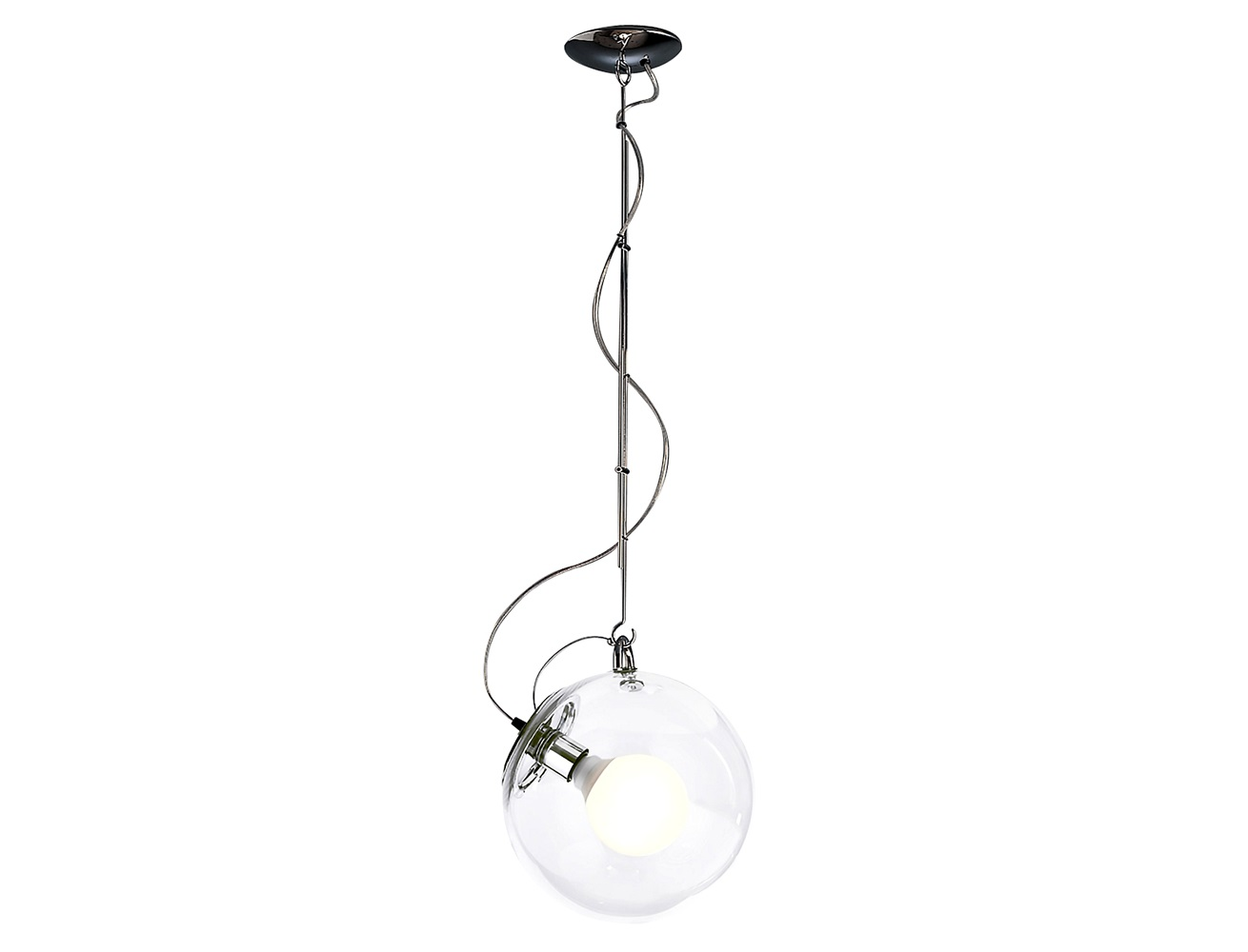 Светильник Miconos sospensioneПодвесные светильники<br>Подвесной светильник Miconos sospensione. Выполнен из полированного хромированного металла, плафон из прозрачного выдувного стекла. Регулируемая высота 100-155 см.<br><br>Мощность: 1 Е27 x 23 Вт<br><br>Material: Стекло<br>Length см: None<br>Width см: None<br>Depth см: None<br>Height см: 100.0<br>Diameter см: 30.0