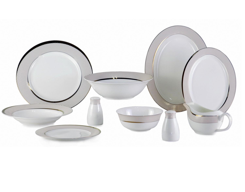 Набор посуды Bianko (26 шт)Столовые сервизы<br>Этот нежный, обворожительный набор посуды станет элегантным столовым аксессуаром на Вашем столе. Его белый цвет отлично гармонирует с золотыми узорами. Такое удачное сочетание добавит тепла в Ваш интерьер.<br>&amp;amp;nbsp;&amp;amp;nbsp;&amp;lt;div&amp;gt;&amp;lt;br&amp;gt;&amp;lt;/div&amp;gt;&amp;lt;div&amp;gt;Состав набора посуда:<br>&amp;amp;nbsp;&amp;amp;nbsp;&amp;lt;div&amp;gt;1 Блюдо овальное большое: ширина: 31 см, высота: 2,2 см, глубина: 22,8 см;<br>&amp;amp;nbsp;&amp;amp;nbsp;&amp;lt;/div&amp;gt;&amp;lt;div&amp;gt;1 Блюдо овальное малое: ширина: 25,5 см, высота: 1,5 см, глубина: 18 см;<br>&amp;amp;nbsp;&amp;amp;nbsp;&amp;lt;/div&amp;gt;&amp;lt;div&amp;gt;6 обеденных тарелок (большие): диаметр: 26,6 см; высота: 1,8 см;<br>&amp;amp;nbsp;<br>6 обеденных тарелок (малые): диаметр: 20,5 см; высота: 1,3 см;<br>&amp;amp;nbsp;&amp;lt;/div&amp;gt;&amp;lt;div&amp;gt;1 соусник: высота 7 см; ширина: 20 см; глубина: 8,5 см;<br>&amp;amp;nbsp;&amp;amp;nbsp;&amp;lt;/div&amp;gt;&amp;lt;div&amp;gt;2 перечницы: высота 8,8 см; диаметр: 5 см;<br>&amp;amp;nbsp;&amp;amp;nbsp;&amp;lt;/div&amp;gt;&amp;lt;div&amp;gt;2 салатника: диаметр 15 см; высота 5,8 см;<br>&amp;amp;nbsp;&amp;amp;nbsp;&amp;lt;/div&amp;gt;&amp;lt;div&amp;gt;6 суповых тарелок: диаметр 23 см; высота: 3,4 см; &amp;amp;nbsp; &amp;amp;nbsp; &amp;amp;nbsp; &amp;amp;nbsp;&amp;amp;nbsp;&amp;lt;/div&amp;gt;&amp;lt;div&amp;gt;&amp;lt;br&amp;gt;&amp;lt;/div&amp;gt;&amp;lt;div&amp;gt;Материал Костяной фарфор&amp;amp;nbsp;&amp;lt;br&amp;gt;&amp;lt;/div&amp;gt;&amp;lt;/div&amp;gt;<br><br>Material: Фарфор<br>Ширина см: 31<br>Высота см: 2<br>Глубина см: 22