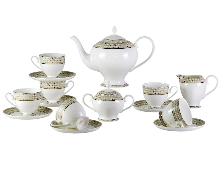 Чайный сервиз Diela (17 шт.)Чайные сервизы<br>Элегантный, стильный набор Diela прекрасно дополнит образ элегантного интерьера Вашей кухни. Его яркие узоры привнесут в Ваш дом настроение торжетсва и роскоши.<br>&amp;amp;nbsp;&amp;amp;nbsp;&amp;lt;div&amp;gt;&amp;lt;br&amp;gt;&amp;lt;/div&amp;gt;&amp;lt;div&amp;gt;В сервиз входят:<br>&amp;amp;nbsp;&amp;amp;nbsp;&amp;lt;/div&amp;gt;&amp;lt;div&amp;gt;1 Заварочный чайник: высота &amp;amp;nbsp;c крышкой 21 см, ширина 28 см, глубина 15 см;<br>&amp;amp;nbsp;&amp;amp;nbsp;&amp;lt;/div&amp;gt;&amp;lt;div&amp;gt;6 блюдец: диаметр 15,5 см, высота 1,7 см;<br>&amp;amp;nbsp;&amp;amp;nbsp;&amp;lt;/div&amp;gt;&amp;lt;div&amp;gt;6 чашек: высота 8,3 см, ширина: 11,5 см, глубина: 9 см;<br>&amp;amp;nbsp;&amp;amp;nbsp;&amp;lt;/div&amp;gt;&amp;lt;div&amp;gt;1 сахарница: высота 12,7 см, ширина: 15,5, глубина: 9,5 см;<br>&amp;amp;nbsp;&amp;amp;nbsp;&amp;lt;/div&amp;gt;&amp;lt;div&amp;gt;1 сливочник: высота: 11 см, ширина 13 см, глубина: 8,2 см. &amp;amp;nbsp;&amp;amp;nbsp;&amp;lt;/div&amp;gt;&amp;lt;div&amp;gt;&amp;lt;br&amp;gt;&amp;lt;/div&amp;gt;&amp;lt;div&amp;gt;Материал Костяной фарфор&amp;lt;/div&amp;gt;<br><br>Material: Фарфор