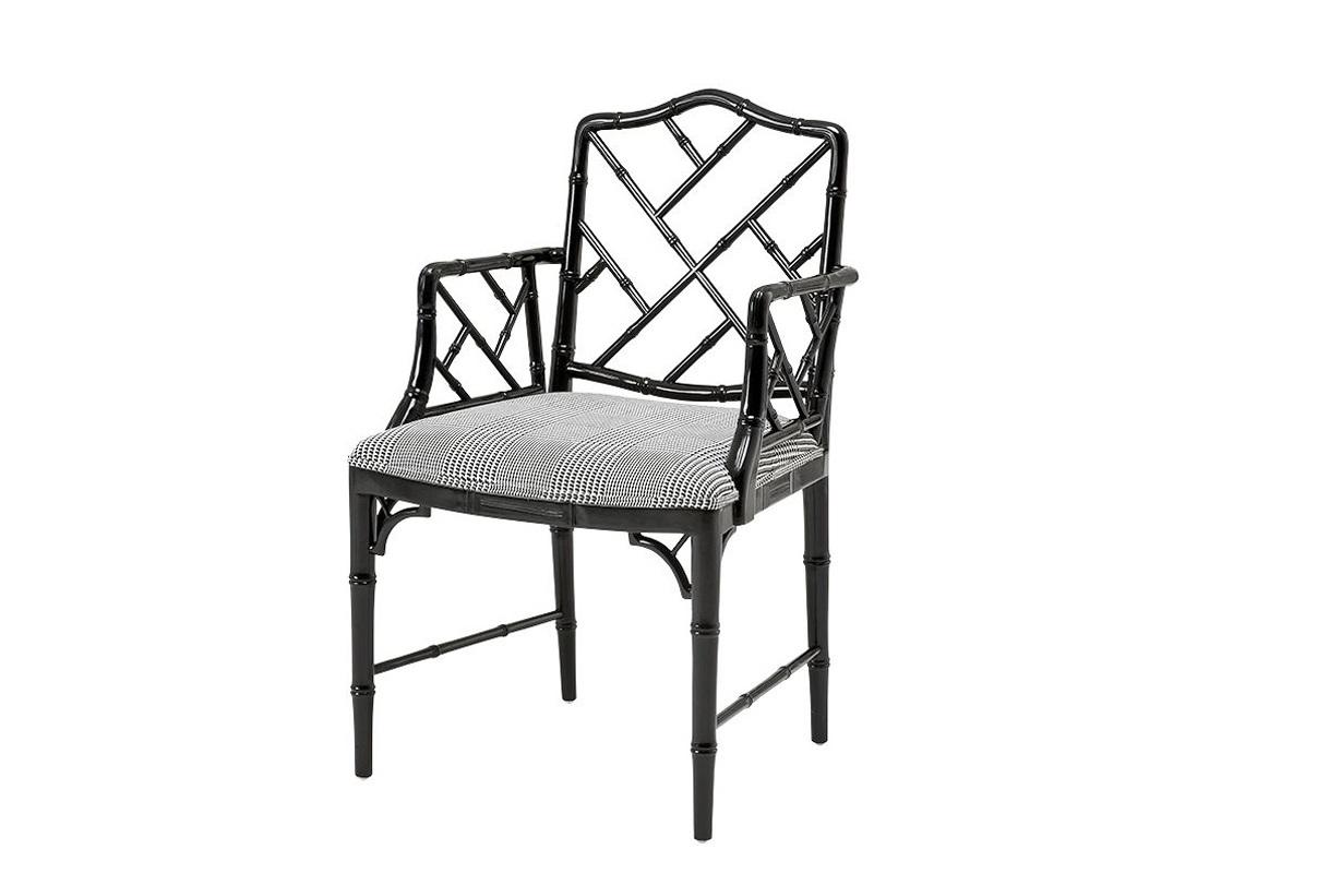 КреслоСтулья с подлокотниками<br>Кресло Infinity с подлокотниками. Сидушка обтянута тканью черно-белого цвета. Деревянные черные ножки, спинка и подлокотники. Состав: 100% полиэстер.<br><br>Material: Текстиль<br>Width см: 98<br>Depth см: 54<br>Height см: 58,5