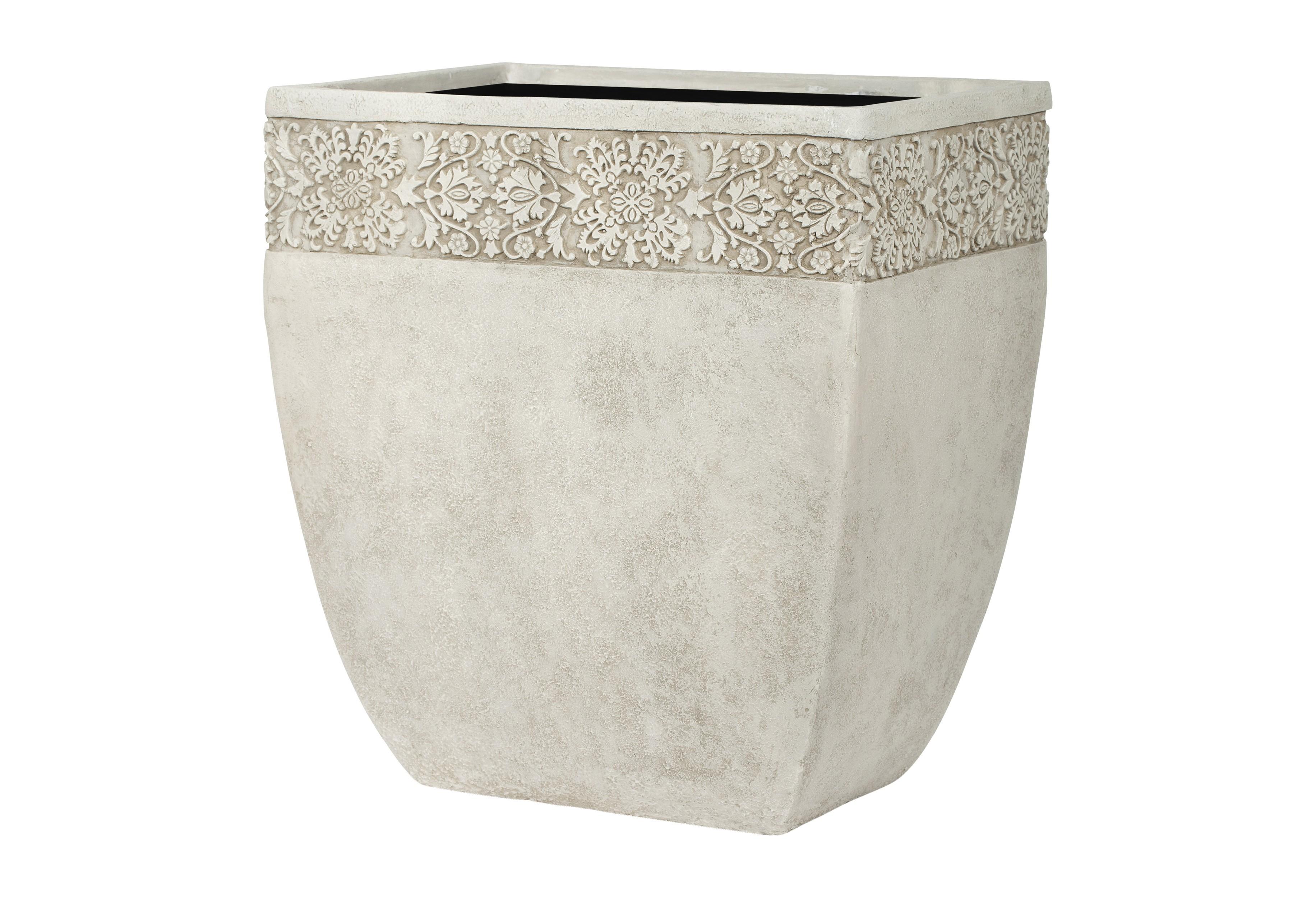 Ваза ДИЖОНКашпо и подставки для дачи и сада<br>CAPI CLASSIC – это вазы в классическом французском стиле.  Вазы отличаются  декоративной каймой с изысканным цветочным узором.  <br>Коллекцию дополняют пьедесталы, с которыми вазы прекрасно согласуются и величественно выглядят рядом с входной дверью или на классической террасе.  Комплекты из ваз не только позволяют создать  красивую композицию, но и значительно облегчают уход за растениями. С их помощью легко расставить акценты на тропинках, входе в дом или на террасе.<br>Вазы CAPI EUROPE не боятся перепадов температуры и влажности воздуха. Все вазы могут быть использованы в доме и на улице круглый год. На дне каждой вазы есть дренажное отверстие, что позволит уберечь  вазу в морозы.<br><br>Material: Полистоун<br>Length см: None<br>Width см: 38<br>Depth см: 27<br>Height см: 42<br>Diameter см: None