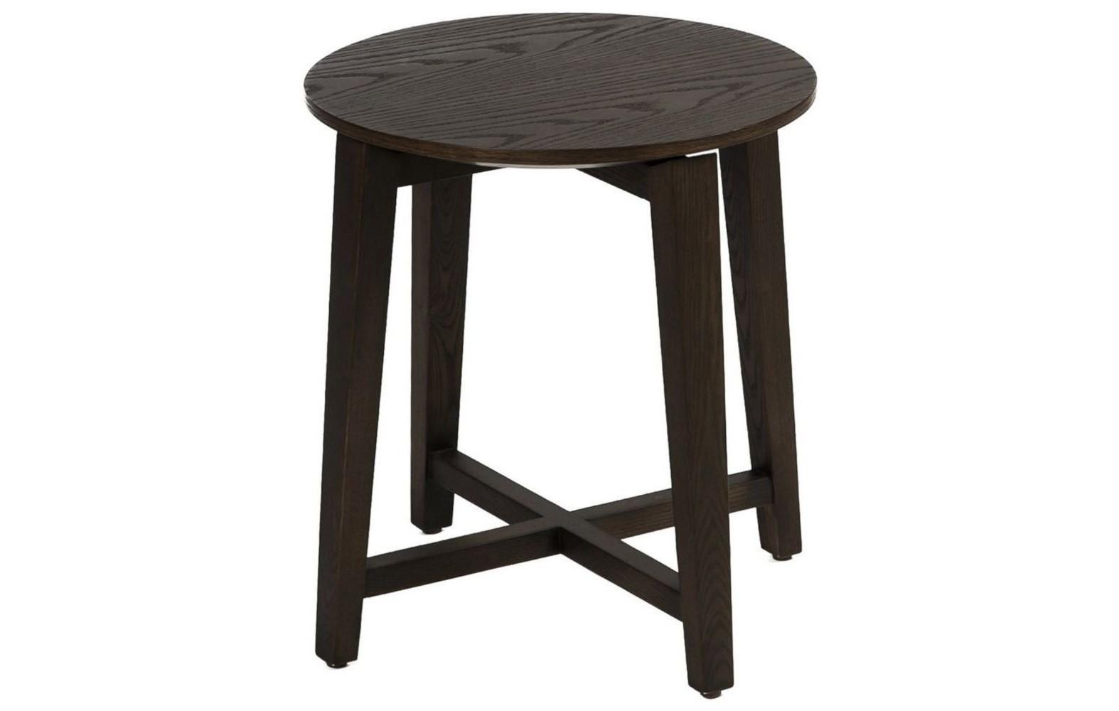 СтолПриставные столики<br>Круглая столешница с сохраненным естественным рисунком дерева, уверенно стоящая на крепких ножках – идеальный стол для строгого мужского интерьера, построенного на четких линиях и неярких оттенках. Впрочем, если в таком  пространстве появляется дама, то ему не избежать разнообразия аксессуаров, что будет вполне уместно в компании этого сдержанного стола.<br><br>Material: Дерево<br>Высота см: 46