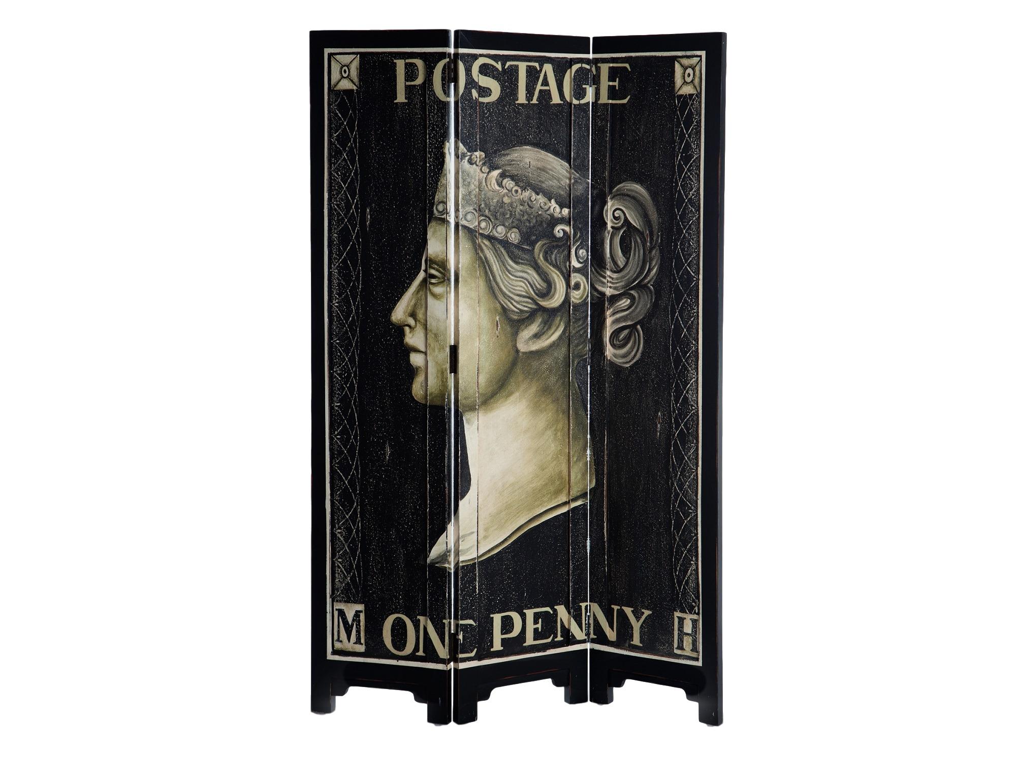 Ширма расписнаяШирмы<br>Ширма из трех створок с изображением первой в истории почтовой марки (Penny Black). Роспись ручной работы, декорирована старением.<br><br>Material: Красное дерево<br>Width см: 120<br>Depth см: 3<br>Height см: 183