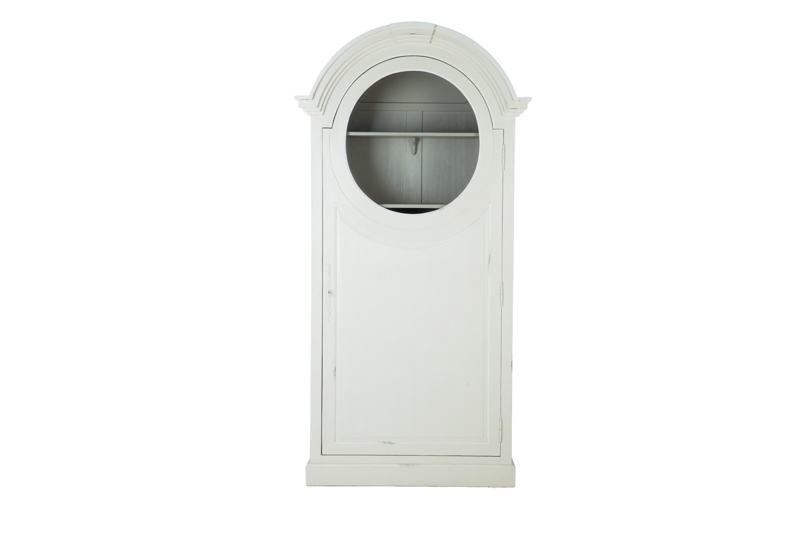 Шкаф БонитьерВитрины<br>Шкаф из дерева махагони, декорирован старением. Пять полочек и 2 выдвижных ящика внутри. Дверца украшена круглым стеклом. В наличии два варианта: полностью серый или сочетание светло-серого снаружи и темно-серого внутри.&amp;lt;div&amp;gt;&amp;lt;br&amp;gt;&amp;lt;/div&amp;gt;&amp;lt;div&amp;gt;&amp;lt;br&amp;gt;&amp;lt;/div&amp;gt;<br><br>Material: Красное дерево<br>Width см: 117<br>Depth см: 50<br>Height см: 230