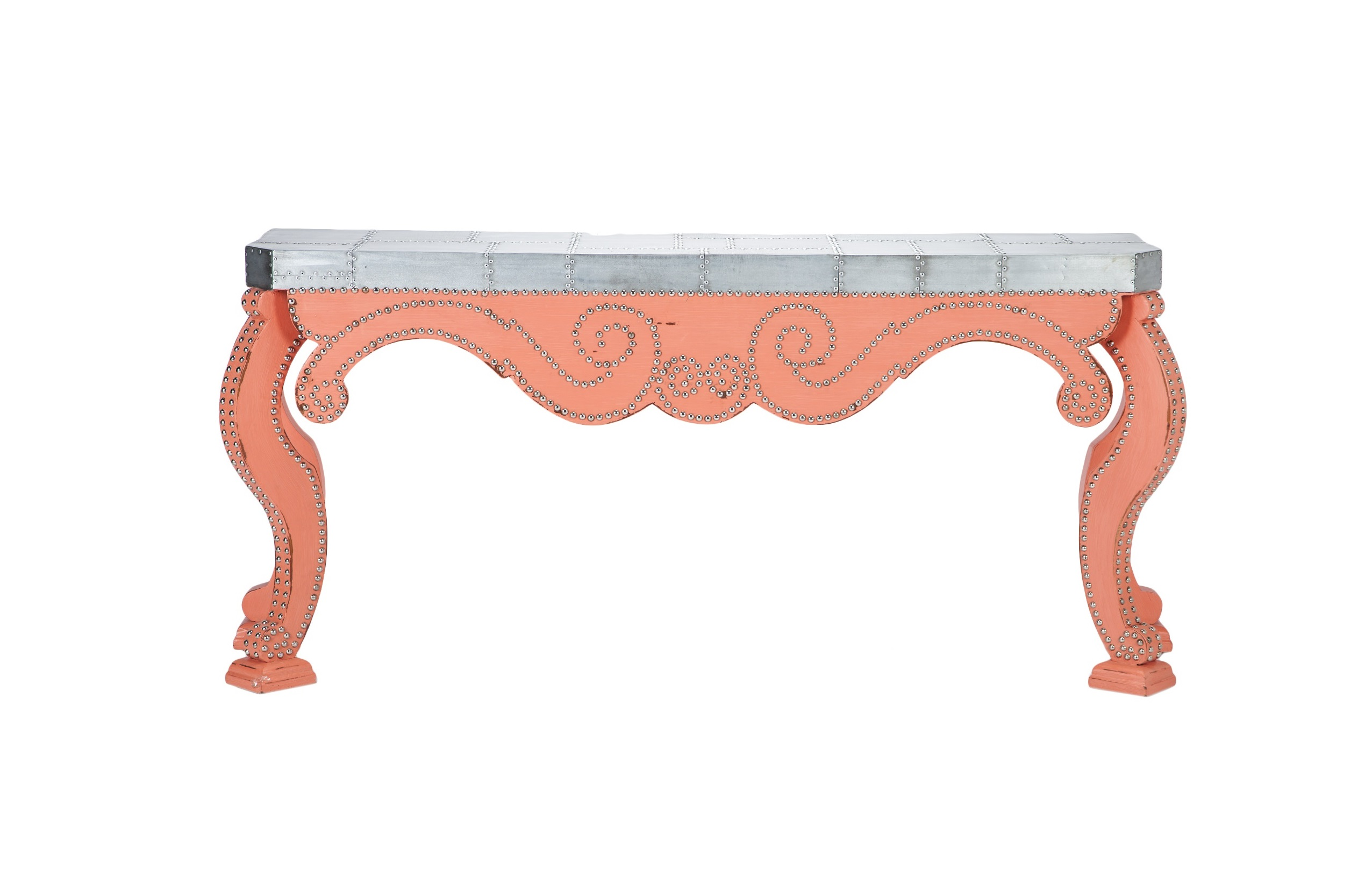 КонсольИнтерьерные консоли<br>Дизайнерская консоль из дерева махагони, столешница декорирована металлом.&amp;amp;nbsp;&amp;lt;div&amp;gt;&amp;lt;br&amp;gt;&amp;lt;/div&amp;gt;&amp;lt;div&amp;gt;Глубина столешницы 41 см,&amp;amp;nbsp;&amp;lt;/div&amp;gt;&amp;lt;div&amp;gt;максимальная глубина консоли 51 см.&amp;lt;/div&amp;gt;<br><br>Material: Красное дерево<br>Width см: 187<br>Depth см: 41<br>Height см: 85