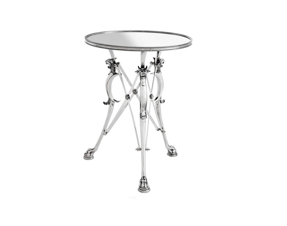 Столик BelfortПриставные столики<br>Столик с оригинальным дизайном Belfort выполнен из металла цвета античное серебро. Столешница зеркальная.<br><br>Material: Металл<br>Ширина см: 60.0<br>Высота см: 78.0<br>Глубина см: 60.0
