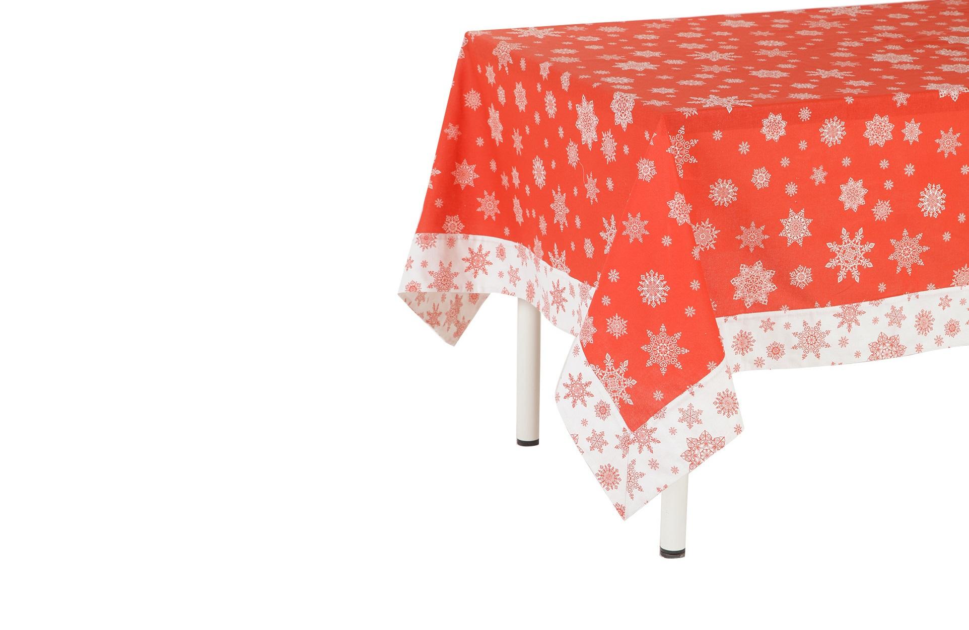 СкатертьСкатерти<br>Скатерть с новогодней тематикой создаст за столом торжественно праздничную, но в то же время тёплую и уютную атмосферу. Эстетичный и функциональный аксессуар превратит любой обед в маленькое событие. Изысканный узор теплого оттенка внесёт благородную изысканность в столовое пространство. Плотная хлопковая ткань легко стирается и не изнашивается. Обедайте красиво!<br><br>Material: Хлопок<br>Length см: None<br>Width см: 150<br>Depth см: 180<br>Diameter см: None