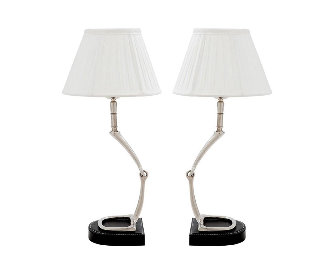 Набор настольных ламп Table Lamp Adorable (2 шт)Декоративные лампы<br>Набор из двух ламп Table Lamp Adorable set of 2. Основание из никелированного металла. Подставка обтянута кожей черного цвета. Текстильные абажуры белого цвета скрывают лампы.&amp;lt;div&amp;gt;&amp;lt;br&amp;gt;&amp;lt;/div&amp;gt;&amp;lt;div&amp;gt;&amp;lt;div&amp;gt;&amp;lt;div&amp;gt;Вид цоколя: E27&amp;lt;/div&amp;gt;&amp;lt;div&amp;gt;Мощность лампы: 40W&amp;lt;/div&amp;gt;&amp;lt;div&amp;gt;Количество ламп: 1&amp;lt;/div&amp;gt;&amp;lt;/div&amp;gt;&amp;lt;/div&amp;gt;<br><br>Material: Металл<br>Width см: 20<br>Depth см: 20<br>Height см: 44